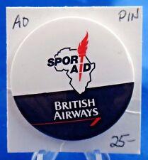 "British Airways Sport Aid Advertising Pin Pinback Button 1 3/4"""