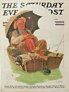 NORMAN ROCKWELL, Sat Eve Post Cover, Fishing, Humor, Dog, 1930 Antique Art Print