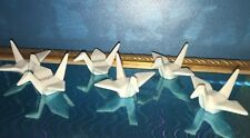 6 WHITE PORCELAIN CRANE CHOPSTICK RESTS Origami birds HASHIOKI Paper Shape JAPAN