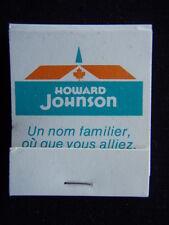 HOWARD JOHNSON UN NOM FAMILIER OU QUE VOUS ALLIEZ MATCHBOOK