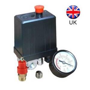Pressure Gauge+safety Valve Set + Air Compressor Pressure Switch Single Phase