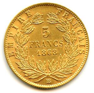 Napoléon III (1852-1870) 5 Francs Or Tête laurée 1868 BB Strasbourg