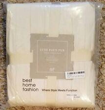 "Best Home Fashion Luxe Mink Faux Fur Throw -  Full Blanket - Cream - 58""W X 60""L"