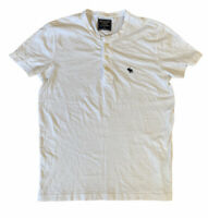 Abercrombie & Fitch Men's T Shirt White Short Sleeve Small Cotton Button Neck