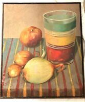 VINTAGE FOLK ART MIDCENTURY MODERN STILL LIFE OIL PAINTING COUNTRY PRIMITIVE