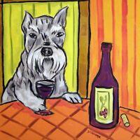 schnauzer at the wine bar dog art tile coaster gift