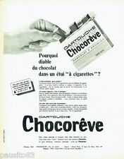 PUBLICITE ADVERTISING 116  1966  Chocoreve  chocolat en cartouche étui cigarette