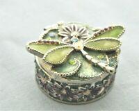 Vintage Trinket/Pill Box – Monet Enameled Dragonfly Design And Crystal Details