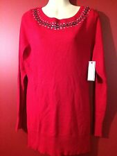 BISOU BISOU Michele Bohbot Women's Red Embellished Sweater - Size XL - NWT $50