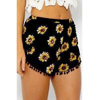Women Beach Shorts Tassel Boho Printed Loose Casual High Waist Pants Summer New
