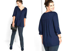 Sheego~ Navy Tassel Lace Up Tunic With Adjustable Sleeves ~ Size 18 ~ [R5]