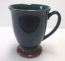 Denby Harlequin Footed Mug Green Inside Blue Outside Red Foot