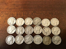 Short set of silver mercury dimes 1940 thru 1945 PDS mints.