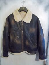 VINTAGE DISTRESSED SHEARLING SHEEPSKIN AVIATOR B3 FLYING JACKET SIZE L