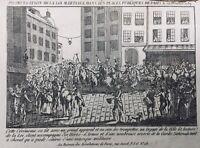 Loi Martiale à Paris en 1789 Rare Gravure Révolution Française Garde Nationale