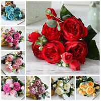 DIY Craft Silk Bridal Bouquet Artificial Flowers Fake Peony Wedding Decoration