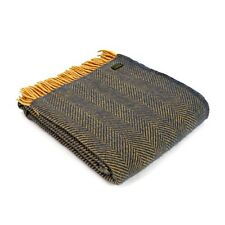 Navy Wool Throw Tweedmill Blanket Herringbone Navy Blue/Mustard Large Size