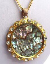 pendentif bijou ancien couleur or cristaux diamant cercle nacre abalone 2861