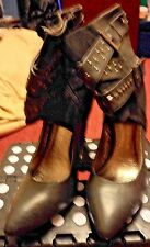 GEORGE BLACK SHOE BOOTS WITH STUD AND STRAP TRIM SIZE 7/41 PRE LOVED