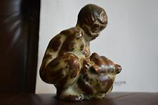 Royal Copenhagen Stoneware Figurine Bear Faun Fighting 20245 Knud Kyhn Porcelain