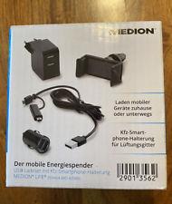 Medion Life E69464 USB und Ladegerät KFZ Auto Adapter Smartphone-Halterung NEU