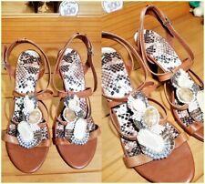 b4bc1298843 Gianni Bini Brown Leather Jeweled Thong Heeled Sandals Size  8.5