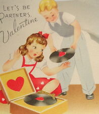 "Vintage Valentine greeting card, kids playing music record player,GB 5 1/2"" used"