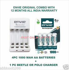 Combo of 4 pc ENVIE 1000 mAh Ni-CD Rechargeable AA Battery Cell + AA/AAA Charger