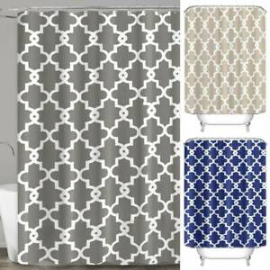 Modern Geometric Print Waterproof Fabric Shower Curtain Large Bathroom Home Deco