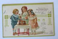 Geburtstag, Kinder, Bowle, Biedermeier,  1907, Prägekarte ♥ (31895)