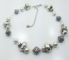 Beautiful Modern Artist Made Sterling Silver 925 Heavy Bead Necklace