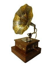 Wooden Handicraft Brass Inlay Gramophone Home Decor Dummy Music Player Gift Item