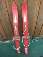 "OLD Wooden 33"" Skis with RED and WHITE Finish With Bindings"