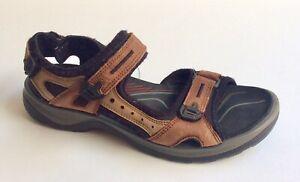 Ecco Yucatan Sport Sandals Womens Size 38EUR 7/7.5US Brown Black Leather Shoes
