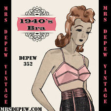Vintage Lingerie Sewing Pattern 1940's Bra in Any Bust Size + PLUS Size #352