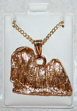 LHASA APSO Dog 24K Gold Plated Pewter Pendant Chain Necklace