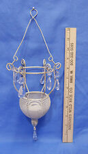 Unique Shabby Metal Wire Hanging Swag Candle Holder Crystal Drops Cottage Chic