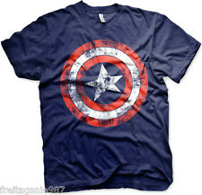 MARVEL CAPTAIN AMERICA SHIELD Distressed  T-Shirt  cotton officially licensed