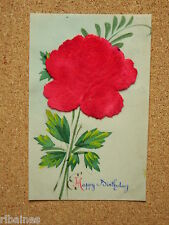 Vintage Postcard: Plastic Card with Velvet Rose to the front, Happy Birthday