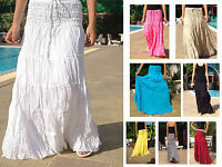 LONG GYPSY SKIRT DRESS  BOHO HIPPY PEASANT SUN TIERED COTTON FLOATY HANDMADE