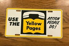 Vintage Metal Yellow Pages License Plate Car Tag Telephone Advertising Sign