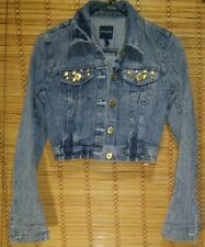 HIGHWAY JEANS DENIM JACKET SIZE SMALL GOLD STUDDED POCKETS