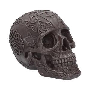 Celtic Iron 16cm Skull Figurine Art Ornament Sculpture