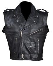 Mens Black leather motorcycle biker vest , Full Grain ,100 Years Warranty