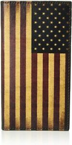Nocona Mens Vintage USA Flag Leather Rodeo Wallet Checkbook Cover
