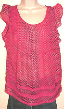 Jessica Simpson Flutter Sleeve Dotted Semi-Sheer Blouse w Lace Size Small