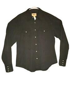 BDG Pearl Snap Dark Brown Striped Long Sleeve Button Down Shirt Double Pocket Lg