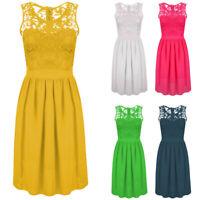 Women's Plus Size Chiffon Floral Flare Lace Dresses Ladies Casual Party Dress