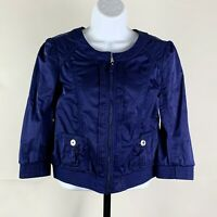 White House Black Market Jacket sz 4 Blue Zip Front Cropped 3/4 Sleeve
