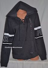 Victoria's Secret Pink Lace-up Perfect Pullover Hoodie Marl Gray White Black M